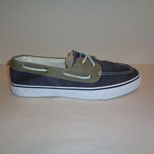 Sperry Size 14 M BAHAMA TWO EYE Navy Khaki Shoes